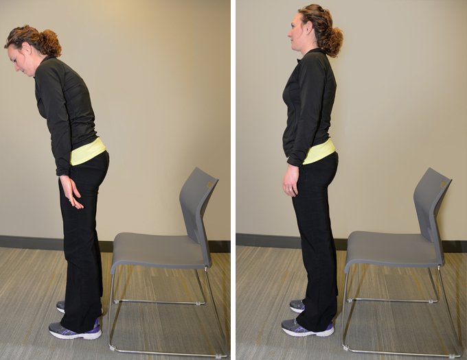 ae26454cad Sit to Stand  Place your feet so that toes and knees are in line. Bend  forward so your nose is over your toes. Push up from the chair with a  controlled ...